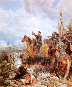 King John III Sobieski blessing Polish attack on Turks in Vienna 1683, by Juliusz Kossak