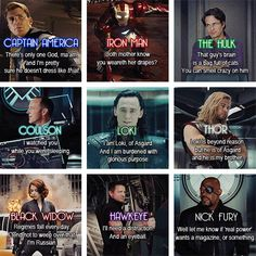 "Some of my favorite quotes in this movie, especially Samuel L. Jackson as Nick Fury ""Well let me know if 'real power' wants a magazine or something."" Talking to Tom Hiddleston as Loki. Marvel Avengers, Avengers Quotes, Marvel Quotes, Marvel Memes, Marvel Dc Comics, Avengers Cast, Avengers Imagines, Loki Quotes, Loki Imagines"