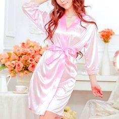 2017 Hot Sexy Lingerie Satin Lace Black Kimono Intimate Sleepwear Robe Sexy Night Gown products 4 Color ping-448E