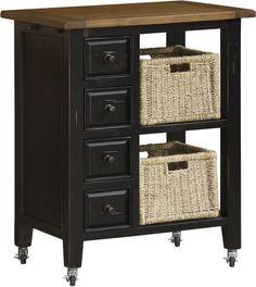 Hillsdale Furniture 5267-883W Tuscan Retreat Kitchen Cart w/ 2 Basket Storage