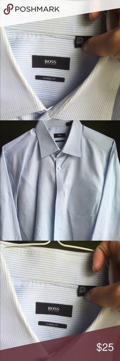 Men's Boss Blue Burton up dress shirt Men's Boss blue dress shirt. 34/35 17 1/2 neck Hugo Boss Shirts Dress Shirts