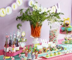 Easter party. Love the easy carrot centerpiece. Super easy idea for a centerpiece for #Easter brunch too!