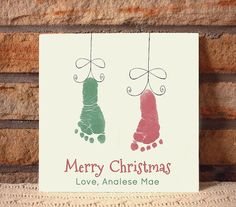 Ceramic footprint plaque by Forever Prints. Christmas Ornaments. Made w/ your child's actual handprints. Mother's Day, New Baby