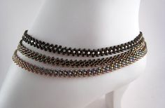 Brown Anklet Multi Strand Beaded Chain Beadwork by BeadfulStrings, $29.00