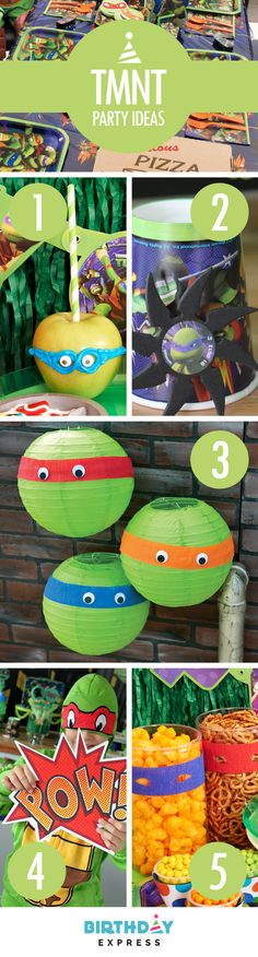 Everything you need for the Top 5 Ninja Turtles birthday party ideas is on Birthday Express: (1) Make some ninja masks out of icing on some apples. (2) Foam ninja stars are great for birthday party games – set up some targets and knock em down! (3) For some easy DIY party decorations, add crepe paper masks to green paper lanterns. (4) TMNT costumes will make the guest of honor feel extra special (5) Dress up party food displays with more DIY TMNT masks