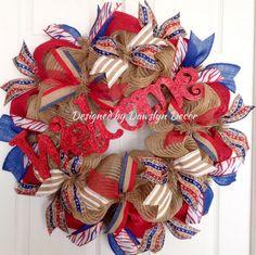 Burlap Wreath Deco Mesh Wreath Patriotic Wreath by DawslynDecor