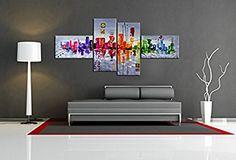 Visario 6515 Set de tableaux sur toile taille XXL motif moderne 160 cm: Amazon.fr: Cuisine & Maison