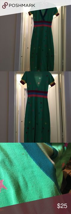 """Sonia by Sonia Rykiel green star dress I love this dress and so wish it still fit me. 47"""" from top of shoulder to bottom. Some red marks on it - no clue what they are from. Otherwise looks great. Price reflects condition. Sonia Rykiel Dresses Midi"""