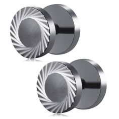 Jewelry Pair Of Stainless Steel Lens Pattern Cut Fake Plug Stud Earrings For Men(Colors Optional)
