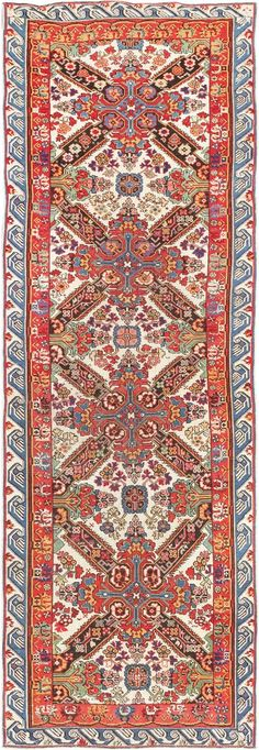 Rare Ivory Background Caucasian Seychour Runner Rug 47658 Main Image - By Nazmiyal  http://nazmiyalantiquerugs.com/antique-rugs/antique-product-type/rare-ivory-background-antique-caucasian-seychour-runner-rug-47658/