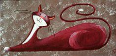 Original Cat Painting for Sale Fantasy Cats by NaturelandsAndCo