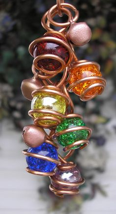 Rainbow Wind Chimes - Stamped Copper & Glass - Garden Sculpture / Gypsy Window Art Suncatcher Lawn Pond Outdoor Yard on Etsy, $23.99