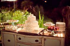 Love the shabby chic use of hte dresser -- Creative Dessert Displays Wedding Cakes Photos on WeddingWire