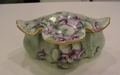 Sweet Green Purple RS Germany Prussia Porcelain China Dresser Box