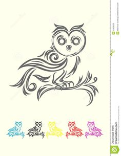 Owl Tribal Stock Vector - Image: 41838253