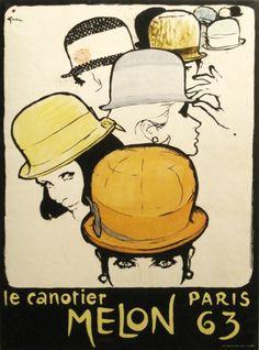 By René Gruau, 1 9 6 3, Le canotier Melon, Paris.