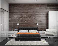 Wood paneling is a simple but effective approach to a feature wall. | 20 Modern Bedroom Designs