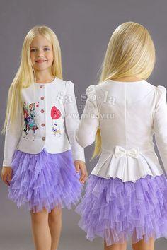 Нарядный Жакет для девочки из трикотажа хлопкового, цвет светло-сиреневый