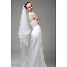 1 Layer Sweep with Embroidery Wedding Veil – USD $ 14.99