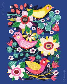 Three Little Birds - by helen dardik. Limited edition giclee print of an original illustration. Printed on Epson velvet fine art stock cotton Boho Pattern, Pattern Art, Print Patterns, Magazine Illustration, Children's Book Illustration, Illustrations, Design Floral, Motif Floral, Graphic Design