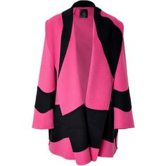 Agnona - Cashmere Colorblocked Coat ($2,398) ❤ liked on Polyvore featuring outerwear, coats, jackets, tops, pink, short coat, women, cashmere coat, color block coat and agnona