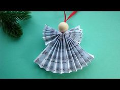 ACCORDION PLEATS BEADED ANGEL Christmas decoration, paper crafts, gift tags, window or wall hanging - YouTube