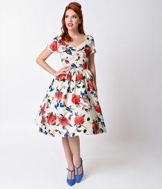 UNIQUE VINTAGE 1950's Style Floral Draper Dress