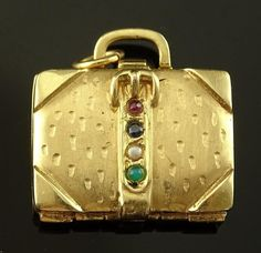 AMAZING 14K SOLID GOLD, RUBY, SAPPHIRE, EMERALD & PEARL SUITCASE 10+ grams ~ $599 eBay CHARM…