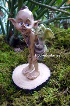 Miniature Fairy Garden Pixie with Baby Dragon on Wood Stump 4319 Hobbit Garden | eBay