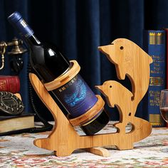 Dolphin Creative Bamboo Wine Rack Eco friendly Home Crafts Wine Bottle Holder Stand