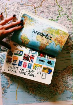 Creative Collections: Saving Stamps from all your mail. Travel journal, traditional journal, art journal page ideas.