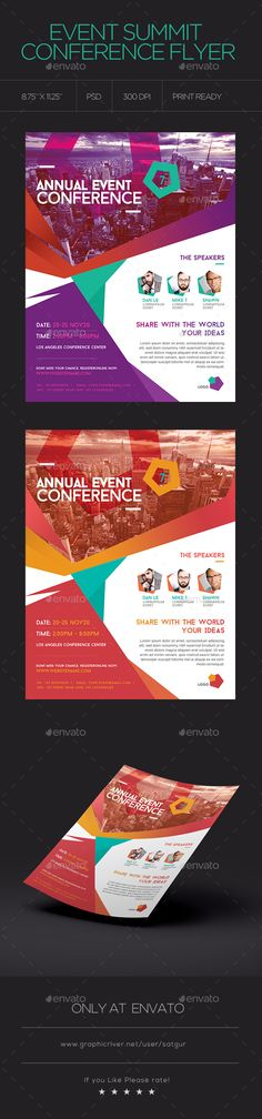 Event Summit Conference Flyer — Photoshop PSD #meeting #educator • Available here → https://graphicriver.net/item/event-summit-conference-flyer/18208545?ref=pxcr