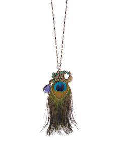 Look at this ZAD Peacock Pendant Necklace on #zulily today!
