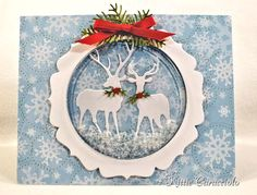 Snowy Deer Shaker Card by kittie747 - Cards and Paper Crafts at Splitcoaststampers