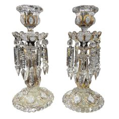 Baccarat Candlesticks Enameled and Gilt Highlights ca. 1900   From a unique collection of antique and modern candle-holders at https://www.1stdibs.com/furniture/decorative-objects/candle-holders/