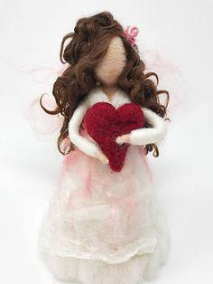 me ~ Christmas Tree Topper/Angel Tree Topper/Fairy Waldorf Inspired/Waldorf Angel Valentine/Needle felted Angel Diy Waldorf Toys, Waldorf Crafts, Waldorf Dolls, Valentine Gifts For Kids, Valentine Decorations, Valentines, Needle Felted Animals, Needle Felting, Felt Angel