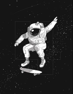 """Skate outer space"" #Skateboard #Space #Astronaut #Skateouterspace #illustration #skater #spaceship #astro"