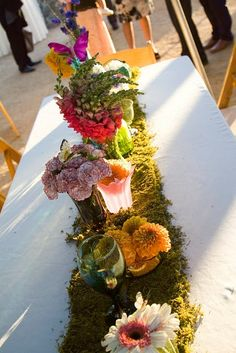 "colorful garden tablescape--could use moss ""runners"" for more of a ""garden party"" feel"