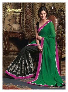 This black chiffon material saree with green pallu & using pink border patti