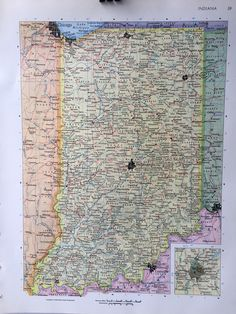 1911 handy atlas vintage map pages illinois on one side and vintage 1967 rand mcnally world atlas map page indiana on one side and iowa on the other side gumiabroncs Image collections