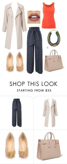 """The wide pants alert."" by moarbaje on Polyvore featuring MSGM, Christian Louboutin, Yves Saint Laurent, Stella & Dot, CAbi, women's clothing, women, female, woman and misses"