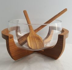 Vintage Gailstyn-Sutton salad bowl and servers glass and teak X frame #GailstynSutton