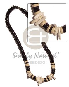 4-5mm Coco Pokalet. Black/bleach  Shell Combination Teens Necklace