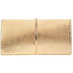 Nina Ricci Women's Arc Detail Clutch (2,160 BAM) ❤ liked on Polyvore featuring bags, handbags, clutches, bolsas, gold, hand bags, leather handbags, genuine leather handbags, beige clutches and beige leather purse