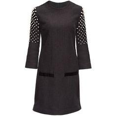 LATTORI Black Midnight Snow Mini Dress, Decorated with Swarovski... ($349) ❤ liked on Polyvore featuring dresses, white pearl dress, kohl dresses, black pearl dress, pearl embellished dress and mini dress