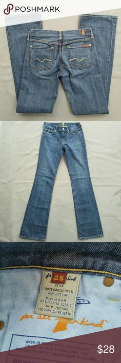 7 flr All Mankind Bootcut Jeans Inseam 33 in. Outer-seam 41 in.  Feel free to ask me any additional questions. Bundles 15% off 3+. Happy Shopping! 7 For All Mankind Jeans Boot Cut