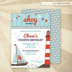 Custom Nautical Birthday - PRINTABLE Invitation - HWTM
