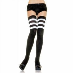 8.99$  Watch here - http://vibxo.justgood.pw/vig/item.php?t=n58hrv22823 - Leg Avenue Women's Black White Stripe Athletic Thigh High Socks Referee Halloween Costume 8.99$