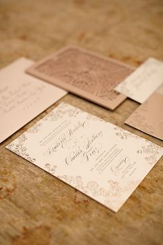unique laser cut wedding invitation; photo: Cava Weddings