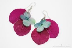 Ref: A18 - ARETES ARTESANALES CORTOS 3  Real pressed flower earrings!